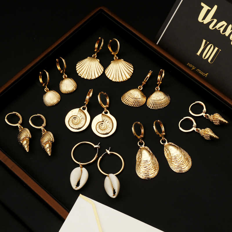 ZOSHI Fashion Women Bohemian Style Gold Starfish Conch Shell Big Circle Drop Earrings High Quality Shell Dangle Earrings Jewelry