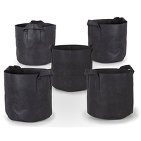 5 Pcs/Lot Grow Bags Aeration Black Non Woven Fabric Pots with Handles Planting Bag Seedling Flowerpot