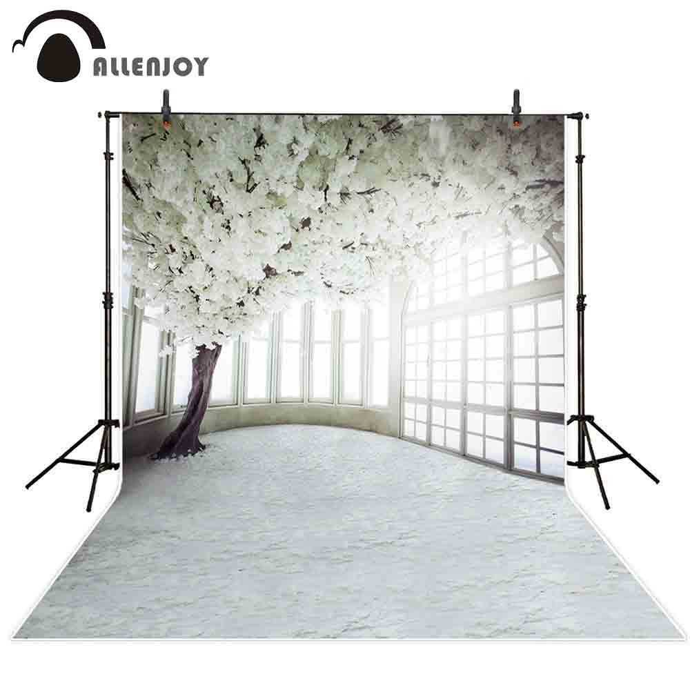 Allenjoy photography backdrop Spring wedding white flower tree window background photo studio photophone photocall shoot prop