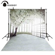 Allenjoy photography backdrop Spring wedding white flower tree window background photo studio photophone photocall shoot prop professional 10x20ft muslin 100% hand painted scenic background backdrop spring flower wedding photography background