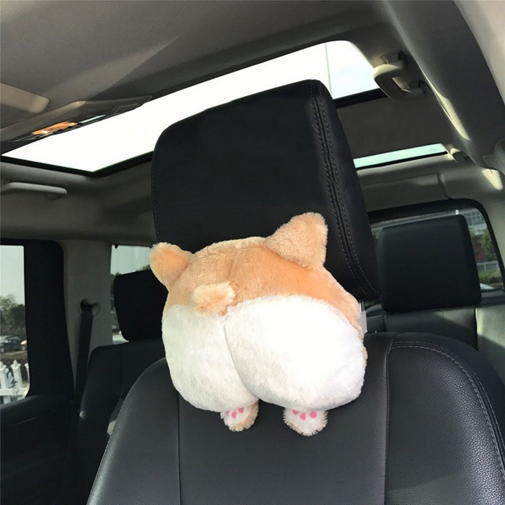 Novelty Corgi Bottom Car Seat Neck Pillow Buttocks Auto Car Neck Rest Headrest Cushion Plush