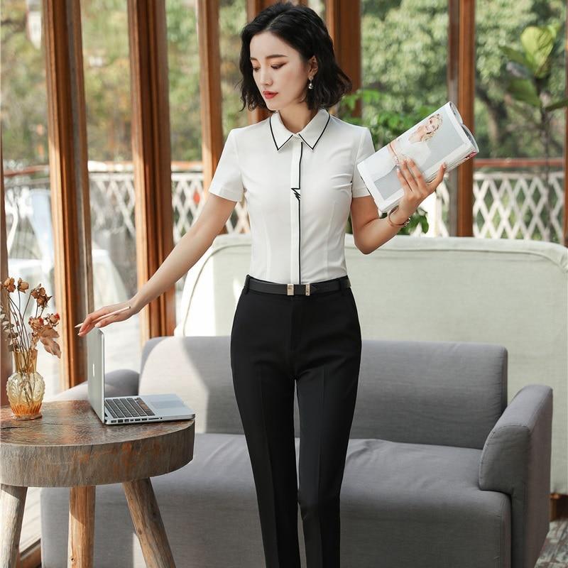 Elegantes Trajes De Negocios Para Mujeres Delgadas De Moda Blanca Con Tops Y Pantalones De 2 Piezas Conjunto De Blusas Y Camisas Elegantes De Oficina Conjuntos De Talla Grande Trajes De Pantalon