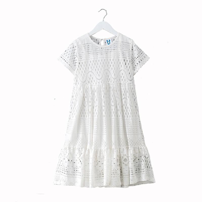 2019 Summer Big Girls Dress Children Lace Vestido Hollow Short Sleeve for Fille Girls School Clothing