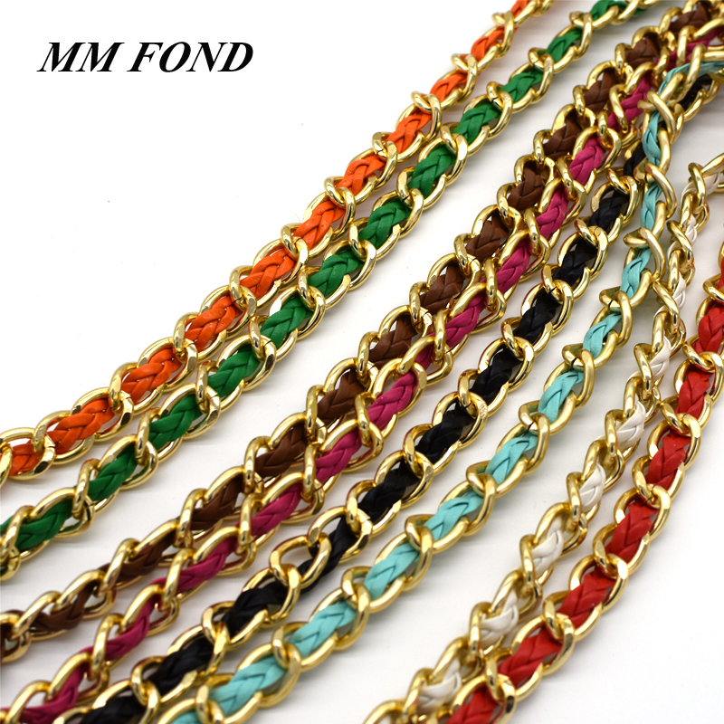 MM FOND New fashion women handbag chain strap super chic with colorful woven leather lady shoulder bag belts any length A368