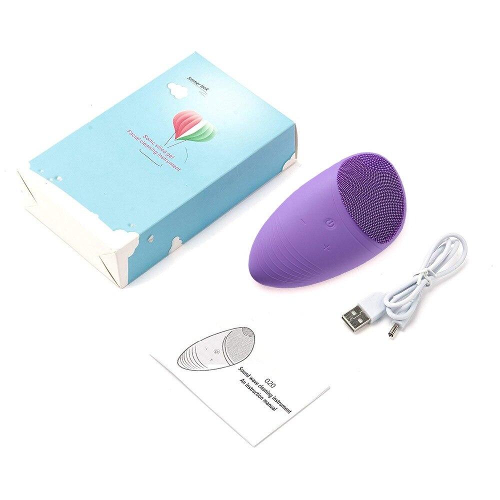 Sônico elétrico silicone escova de limpeza facial