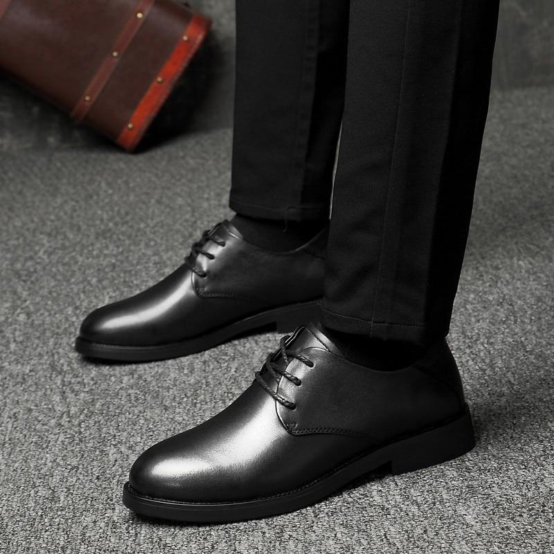 Black Formal Boda Genuino De Vaca Elegante Calzado Marrón Clásico Oficina Negro Los Hombres Fiesta Joven 2019 Hombre brown Vestir Zapatos Cuero Para xpnwCCqRS