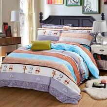 Digital stripes style Winter soft velvet bedding set super warm bed sheet duvet cover pillowcase soft bedding home textile