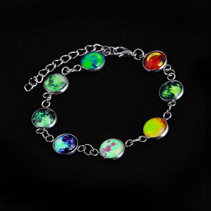 Full Moon Bracelet Glow In The Dark Luminous E Galaxy Planet Handmade Sun Jewelry Statement Bracelets Charm From