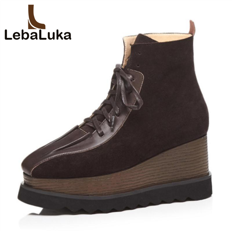 LebaLuka Woman High Wedges Boots Genuine Leather Plush Fur Warm Shoes Women Winter Ankle Boots Fashion Ladies Shoes Size 33-41 size 33 41 new winter warm fur double buckle genuine leather plush ankle boots pointed toe top quality fashion women snow shoes