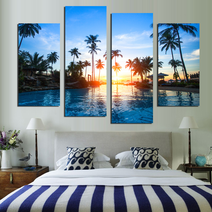 4 piece coconut trees seascape canvas painting home for 4 living home decoration