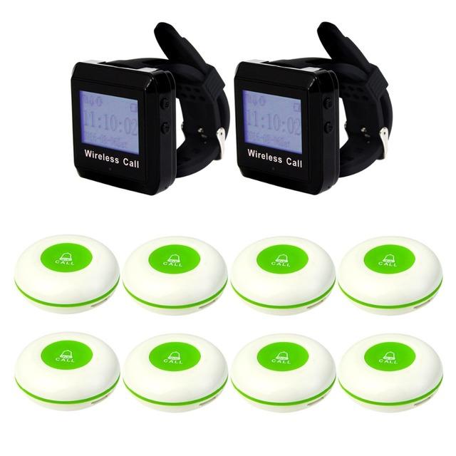Enfermeira Chamada Sistema De Paginação sem fio Garçom Chamada Pager 2 pcs Relógio de Pulso Receptor + 8 pcs Chamar Botão do Transmissor 433 MHz F3258