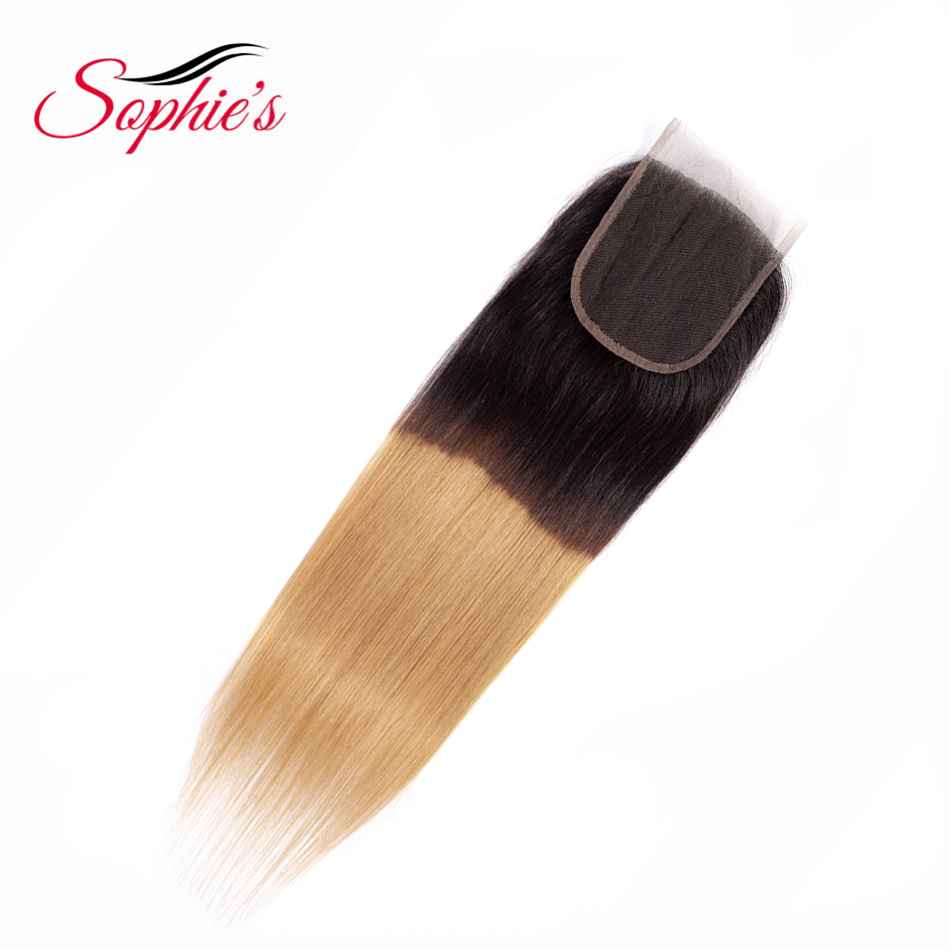 Sophie's Pre-Colored Ombre Hair 4*4 Closure  Malaysian  Human Straight Non-Remy Hair T1B-27 Color Hair Extensions