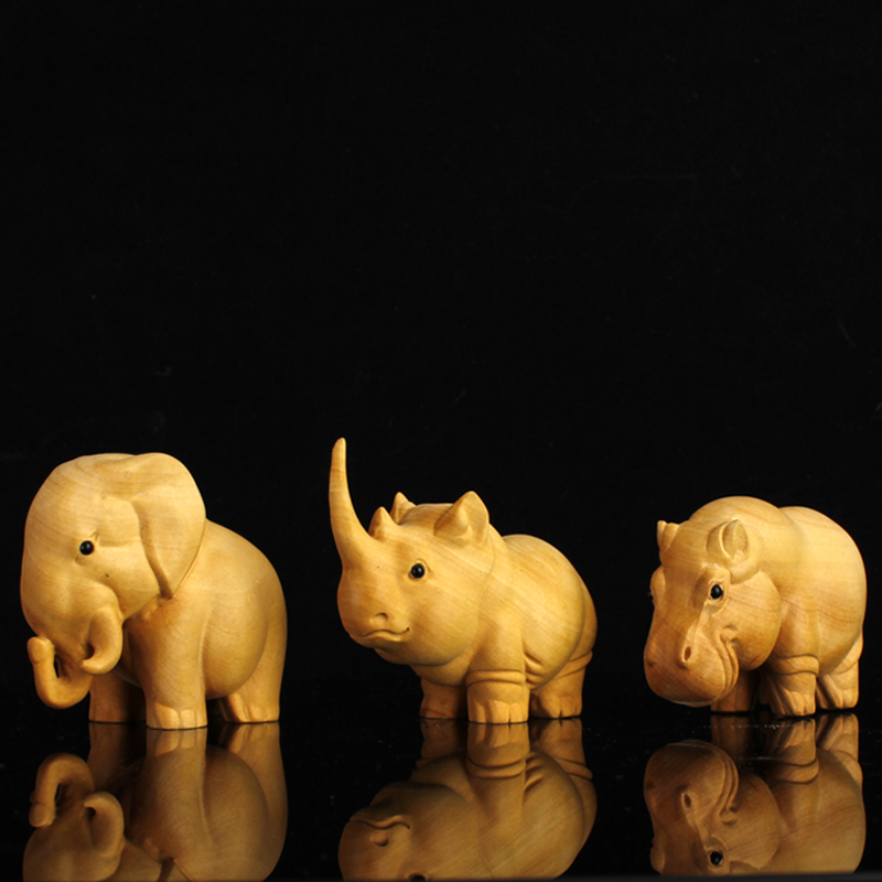 Wooden African Rhino Hippopotamus Elephant statue Figurines Chinese doll Gift Creative Figurines statues for decoration