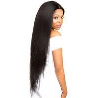 13x6 Синтетические волосы на кружеве парик 150% плотность прямо полный человеческий волос парики для Для женщин натуральный черный перуанский