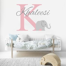 Fashion Nursery Bedroom Decor Gift Personalized Name Vinyl Wall Stickers With Little Elephant Cute Removable Murals W-131