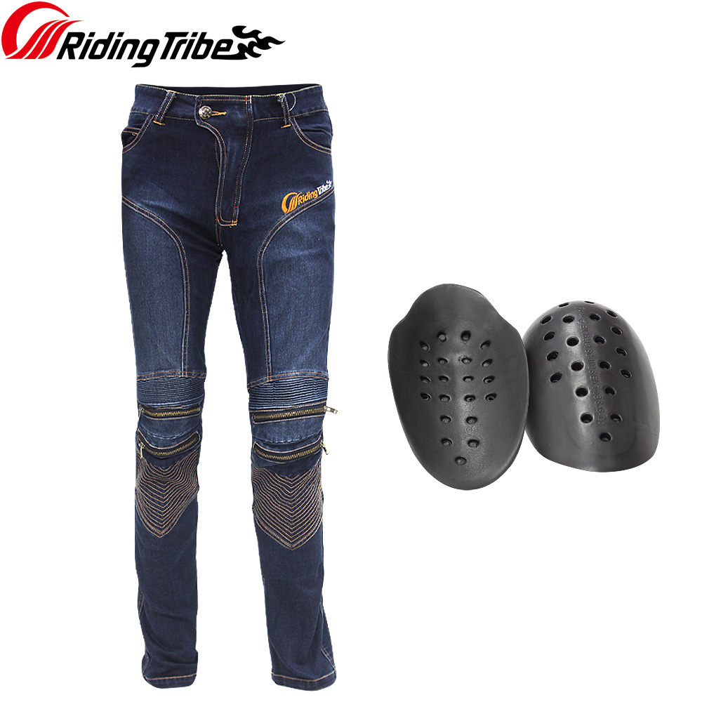 Riding Tribe Men's Motorcycle Jeans Slim Fit Protective Motocross Pants Motorbike Racing Breathable Stretch Biker Pants HP-05 rock biker shop genuine 2017 new slim camouflage riding jeans motorcycle jeans multifunction denim shorts pants unisex