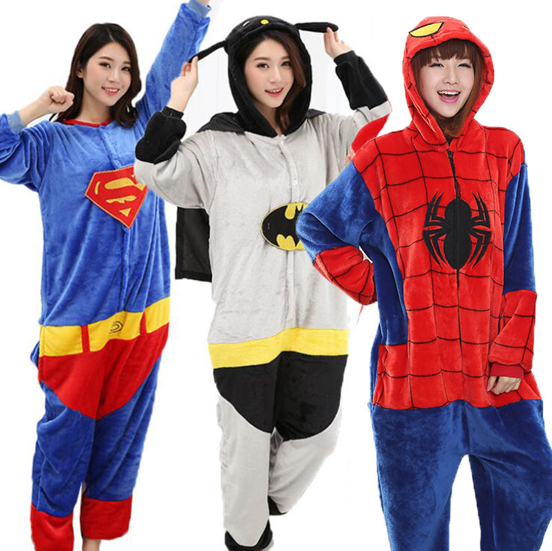 Adult Anime Batman Superman Kigurumi Onesies Costume For Women Men Funny Warm Soft Animal Cute Onepieces Pajamas Home Wear Girl