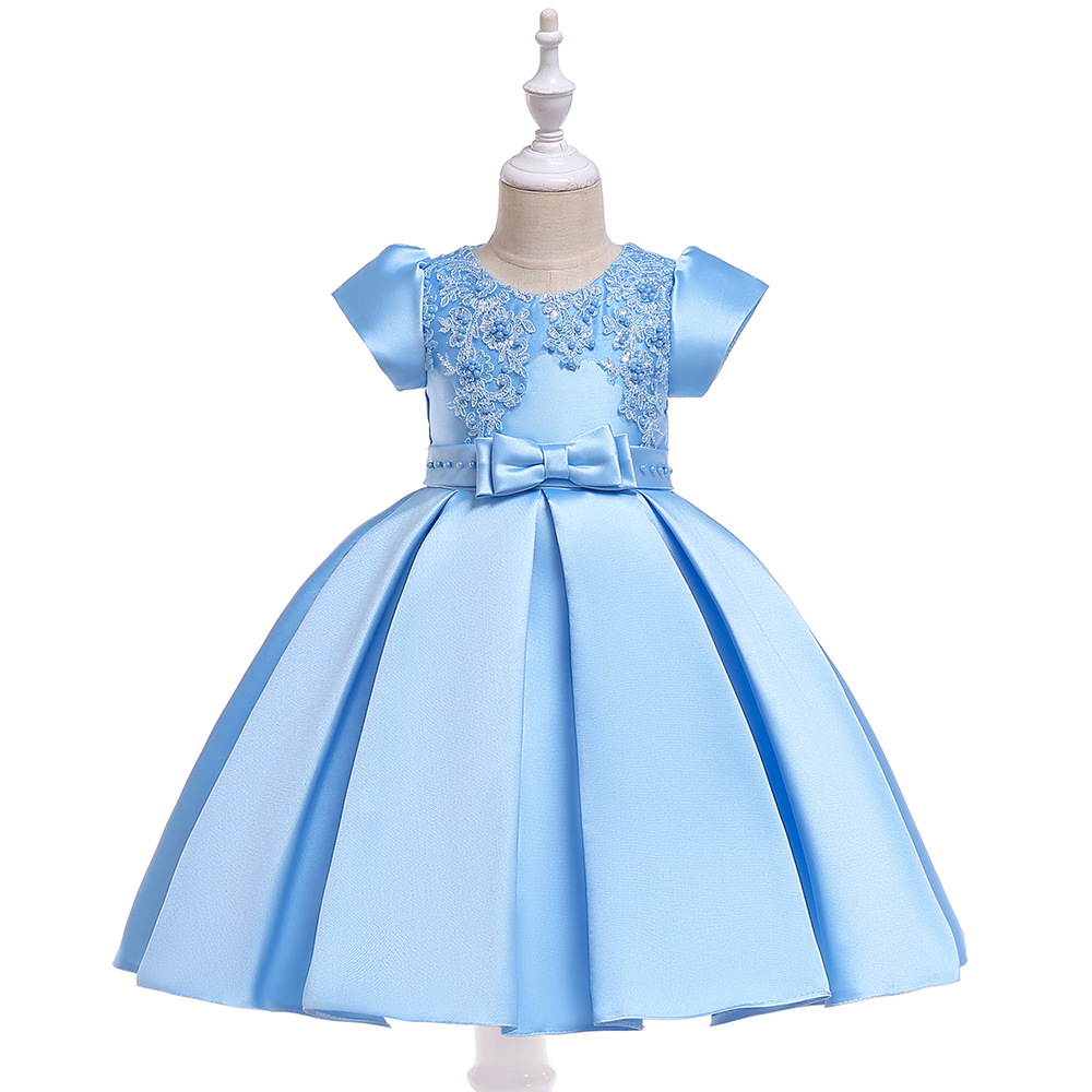 Beauty A-Line Short Sleeves Sky Blue Satin   Flower     Girl     Dresses   Lace Appliques First Communion   Dresses   2019 with Pearls