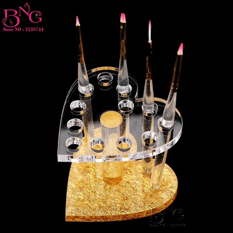 BnG Acrylic Stand Nail Brush Holder 12 Holes Heart Round Shape Makeup Brushes Holder Nail Art