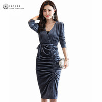 Autumn Winter Evening Party Dresses Velvet Dress Women Long Sleeve V Neck Vintage Sexy Slim Bodycon Dresses Vestido Mujer okb526