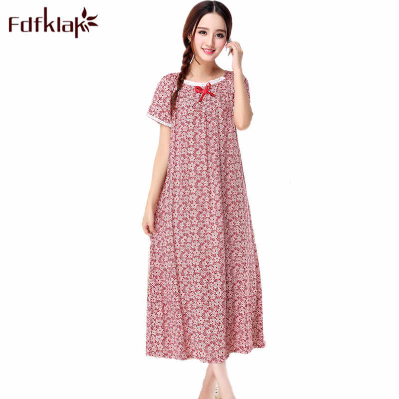 Women Cotton Nightgown Floral Sleep Dress Long Sleeve Sleep Shirt Plus Size Night Shirt Sexy Nightwear Casual Home Dress XXL Q31