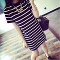 2016 New Summer Long Ladies Striped Short Sleeved T-shirt Loose Korean Striped Clothes Free Shipping