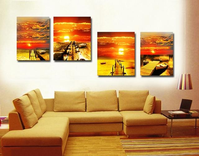 Pared cuadros para la sala 4 unidades impresas paisaje for Cuadros clasicos para sala