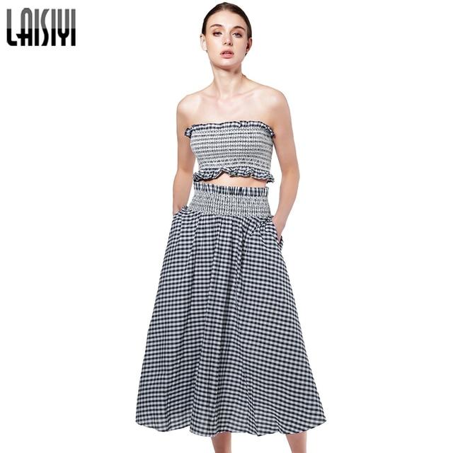 184f9bc24c7 LAISIYI Plaid Two Piece Set Women Sexy Tube Crop Top Skirt Ladies Elegant  Sets Beach 2017 Summer Fashion Suit Clothing ASSU50039