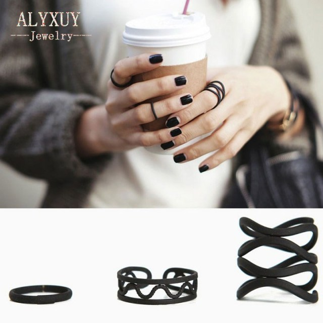 New fashion accessories jewelry black hollow finger ring set for women girl nice