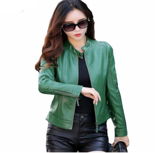 2018 Ladies Spring jackets Faux   Leather   Coats Plus Size Green   Leather   jacket Women Zipper Fashion Slim Motorcycle Short Coat