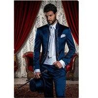 Мужской деловой костюм обтягивающие классические мужские костюмы блейзеры роскошный костюм мужские две пуговицы 2 шт. (пиджак + брюки)