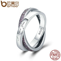BAMOER 100 Authentic 925 Sterling Silver Sweet Promise Ring Pink CZ Female Finger Ring For Women