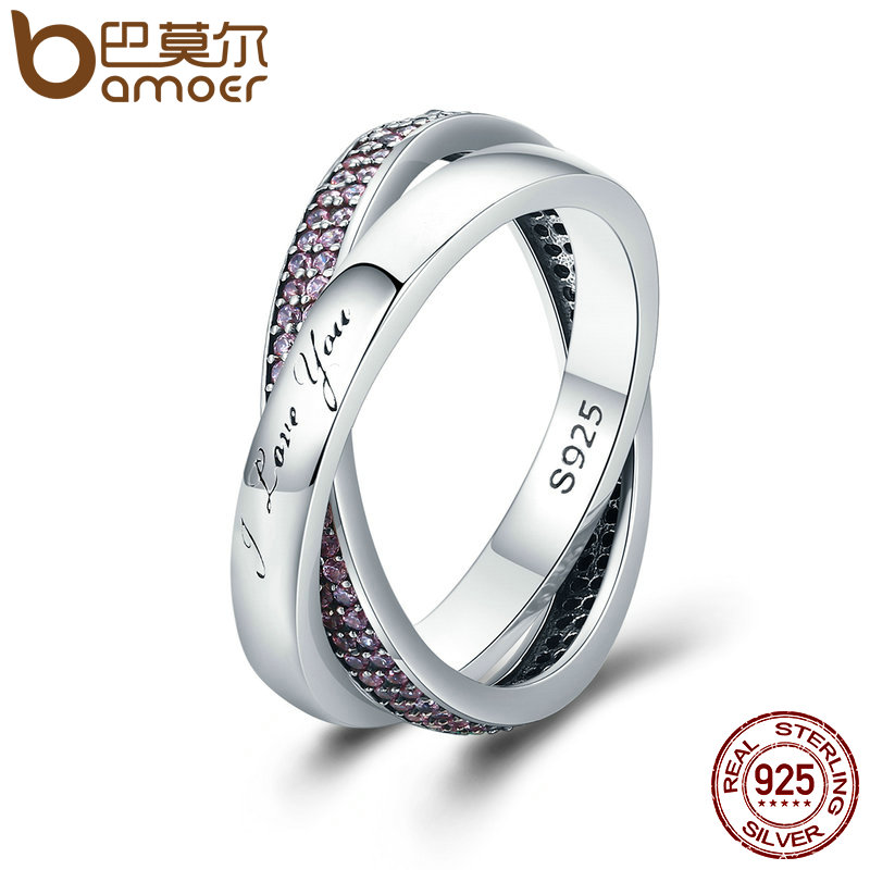 BAMOER Real 925 Sterling Silver Sweet Promise Ring, Pink CZ Female Wrap Finger Ring for Women Engagement Jewelry PA7650 цена 2017
