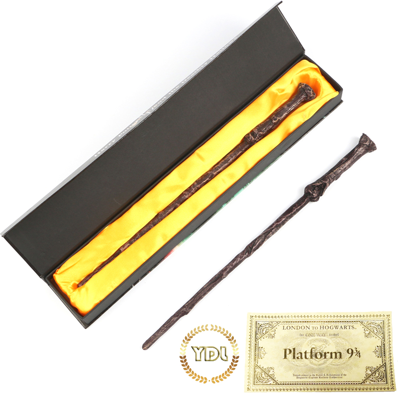 Harry Movie Wands Colsplay Metal/Iron Core Elder Dumbledore Hermione Ron Magical Wand Varinhas Kid Magic Wand With Train Ticket