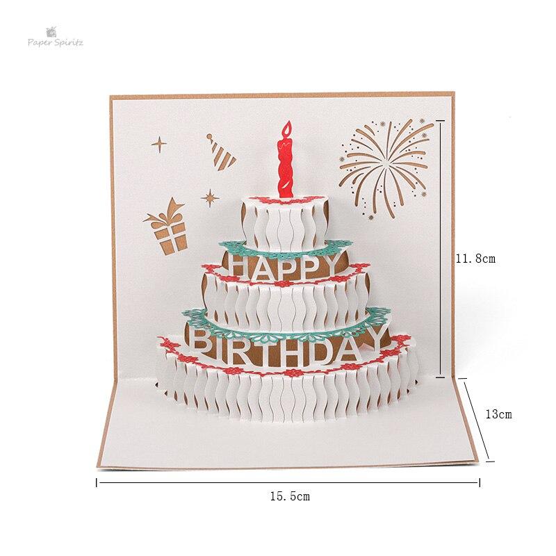 Hot Sale Paper Spiritz Happy Birthday Cake Cards 3d Laser Cut Paper