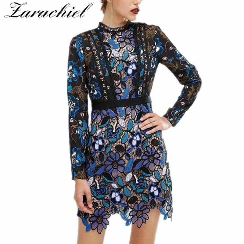 eede1bdd47 Zarachiel Self Portrait Blue Vintage Lace Dresses 2019 Autumn Winter ...