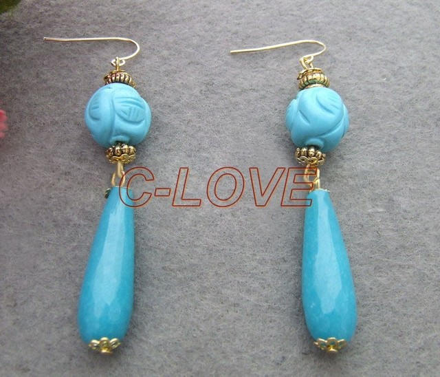 Blue Jade&Carved Turquoise Gold Plated Earrings free shipment
