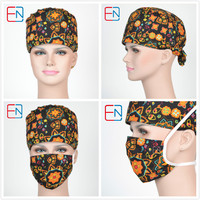 Hennar Unisex Medical Caps With Masks With High Quality Surgical Scrub Caps With Sweatband 100 Cotton