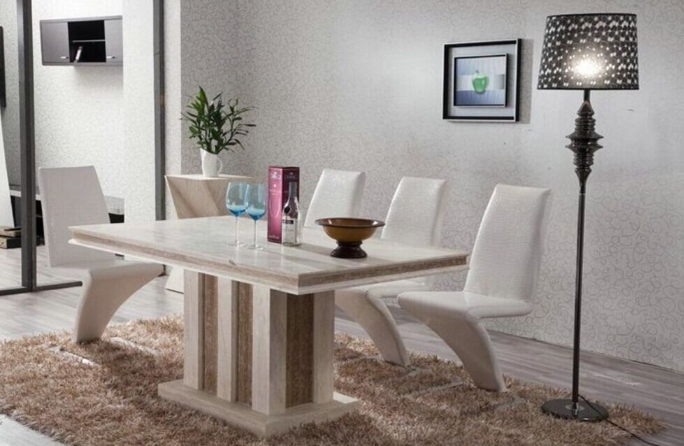 Marble Table Natural Travertine Dining Table Set L..