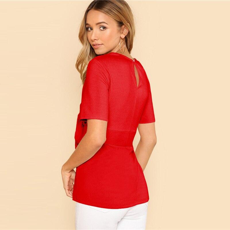 Sheinside Self Belt Keyhole Back Blouse Solid Short Sleeve Top 18 Summer Women Office Ladies Work Elegant Blouse 15