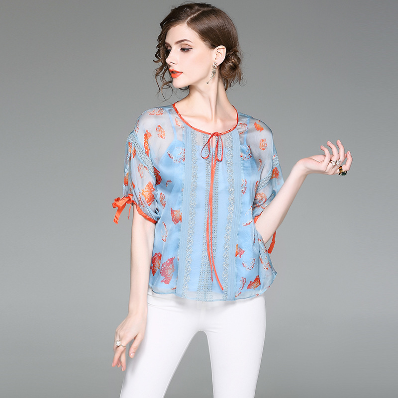 все цены на Women summer blouse 2017 new brand runway top quality fashion silk print half blouse brief chiffon shirt with spaghetti strap онлайн