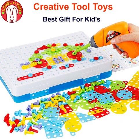 ferramenta criativa brinquedo conjunto de ferramentas do menino broca mosaico fingir jogar toolbox com toolkit
