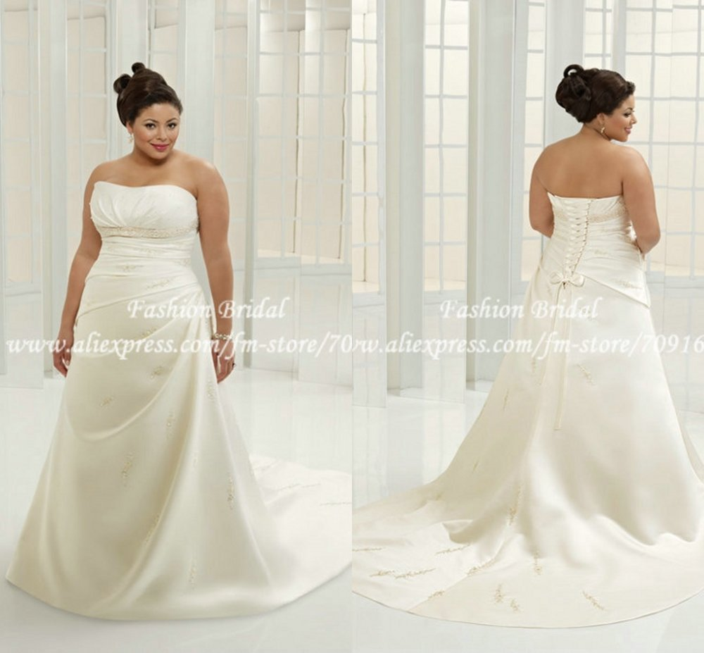 cheap designer simple a line plus size wedding gown twd079
