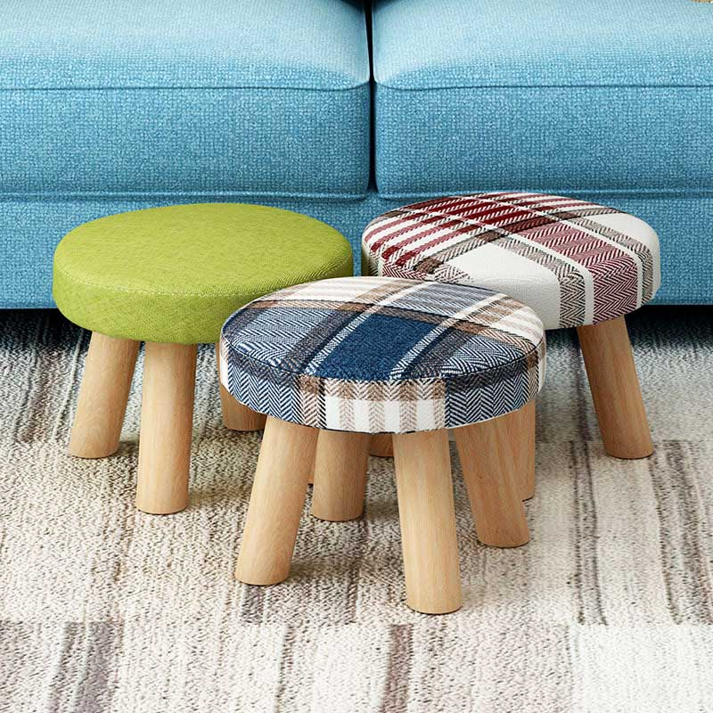 Creative Solid Wood Round Stool simple Fabric Low Stool Living room High-elastic sponge cushion Sofa Bench stool chair Furniture floral cushion design table stool padded piano chair wood stools rest cosmetics seat sofa bench simple stool home furniture