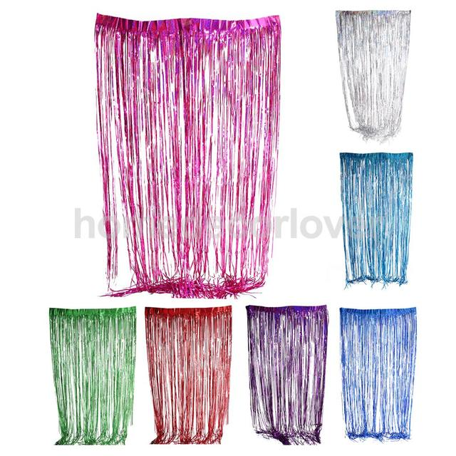 metallic fringe curtain party foil tinsel room door curtain christmas wedding baby shower decoration 300cm x - Foil Christmas Door Decorations