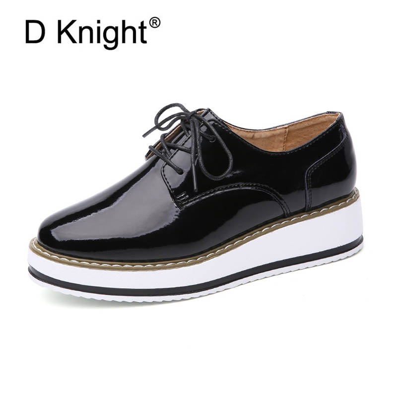 Fashion Patent Leather Ladies Casual Platform Wedges Shoes New Vintage Lace Up Women Oxford Shoes High Quliaty Girls Wedge Shoes europe america fashion star cutout lace up high heel shoes for women square toe platform wedges brogue oxford casual shoes us 10