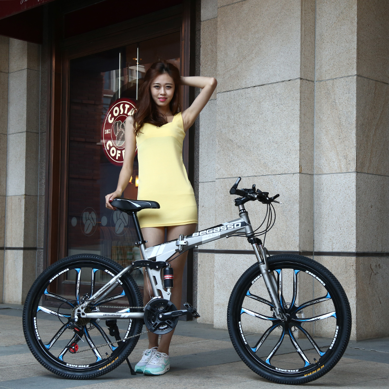 New 26inch Bike 21 Speed Folding Mountain Bicycle Two-disc Brake Bicycle Spoke Wheel/knife Wheel Mountain Bicycle Adult Bike