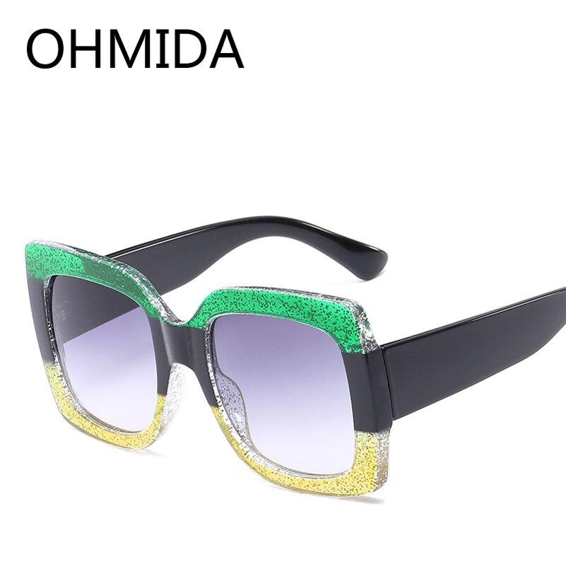 OHMIDA 2018 New Ladies Sunglasses Luxury Women Brand Designer Sexy Oversized Square Sun Glasses Female Summer Style Shades UV400