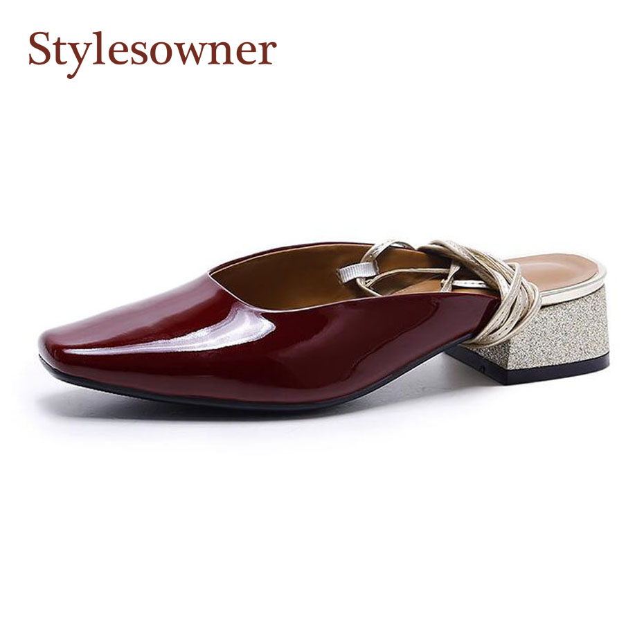 Stylesowner spring summer women slippers patent leather square toe chunky heel sandals cross tied two wear slides mujer zapatos mnixuan women slippers sandals summer