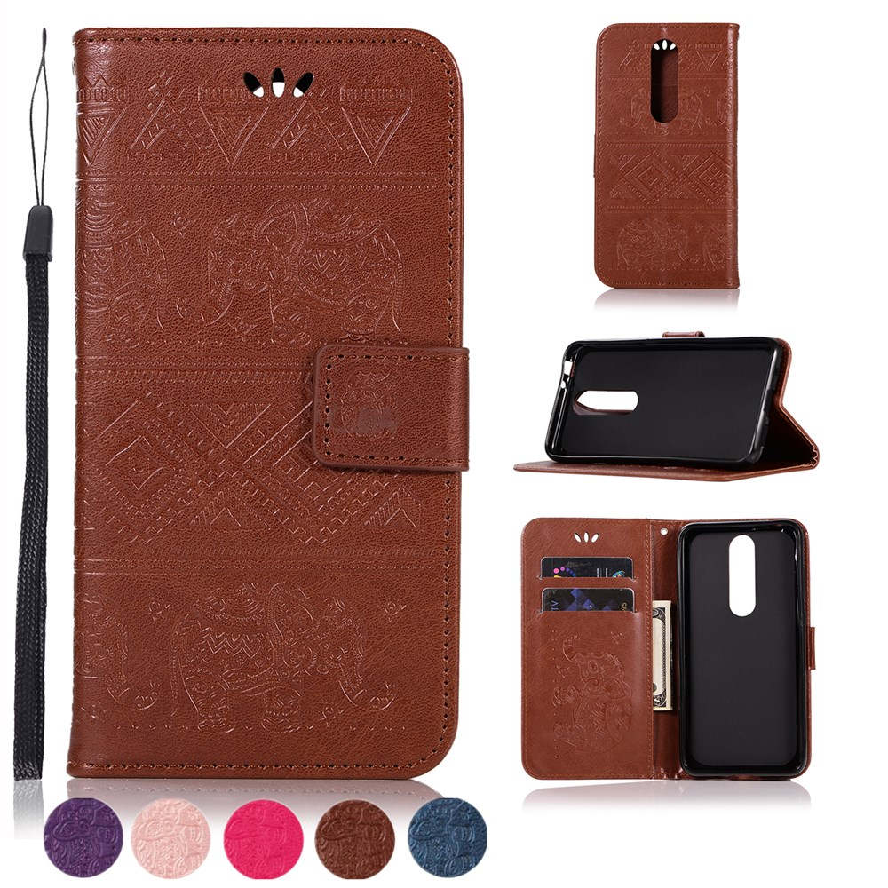 Luxury Flip CASE For Nokia 5.1 Plus Case NOKIA 5.1 PU Leather Card Wallet Stand Cover for nokia 5.1 plus Elephant Embossed case